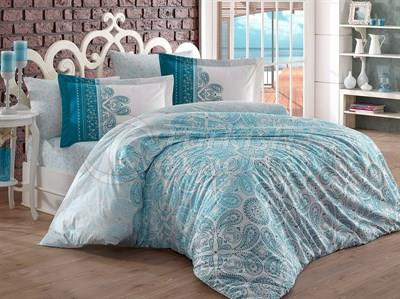 Irene Turquoise - Poplin Single Bed Linen Set (8698499121768)