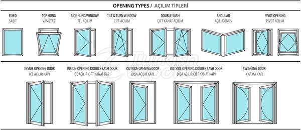Janelas de portas de alumínio de 55W