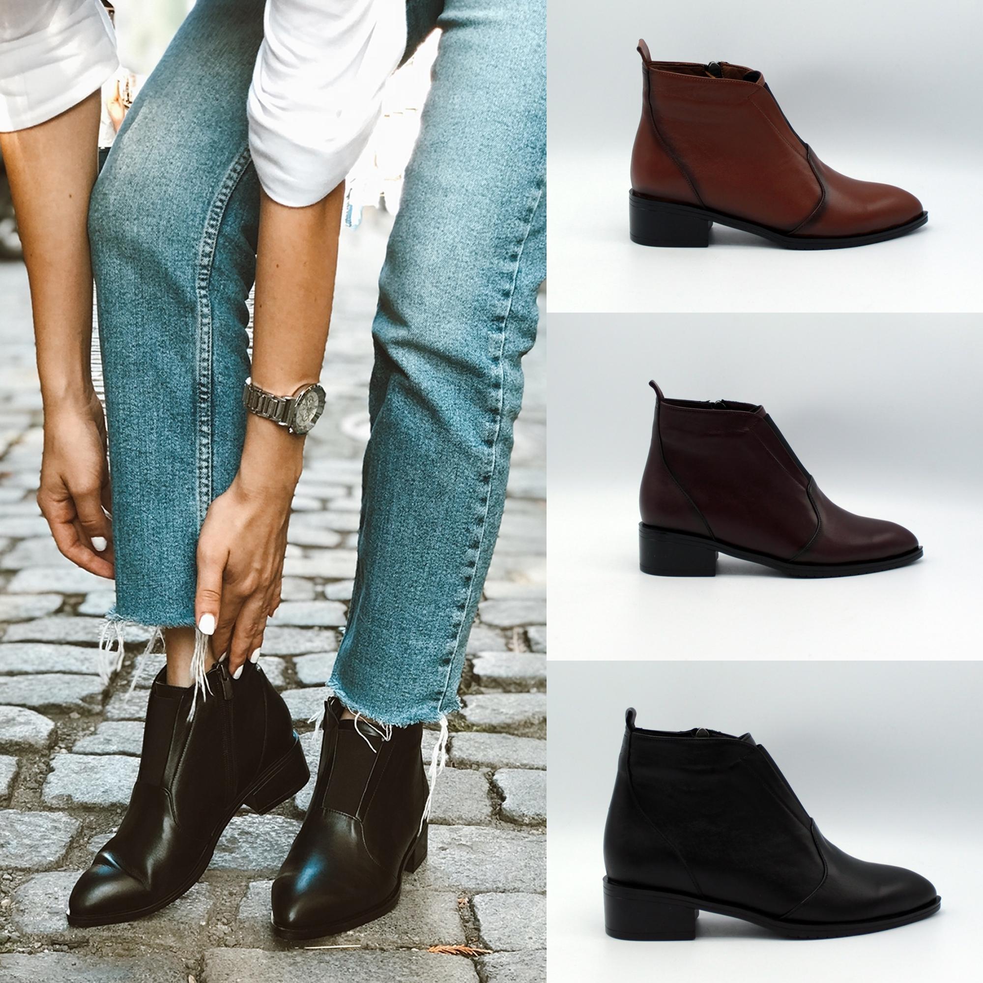 Low Heel Women Leather Boots Trend Footwear
