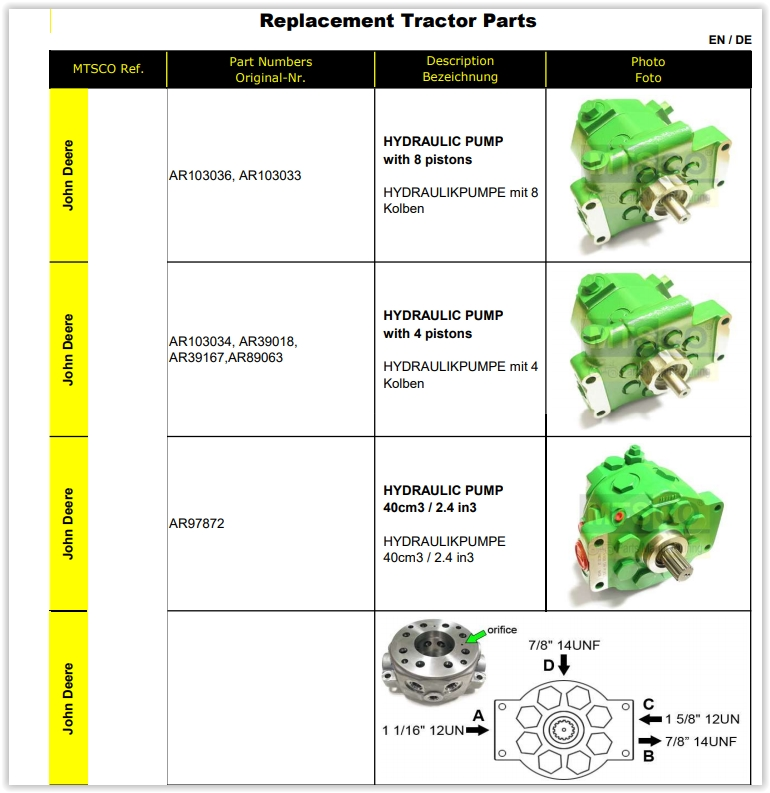 Replacement Tractor Parts