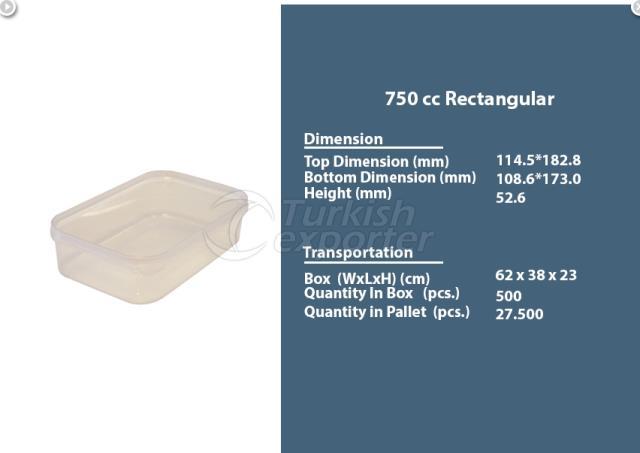 Rectangular Plastic Container 750 cc