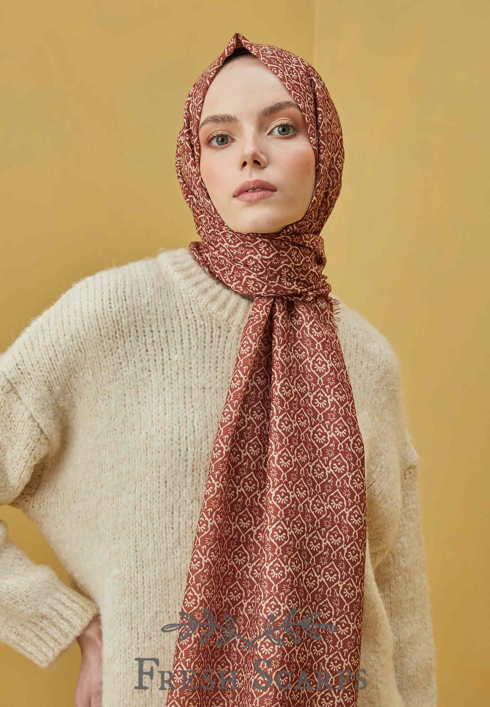 tulip pattern shawl burgundy