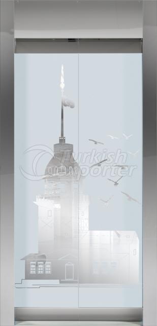 Porta de vidro emoldurada Torre da menina