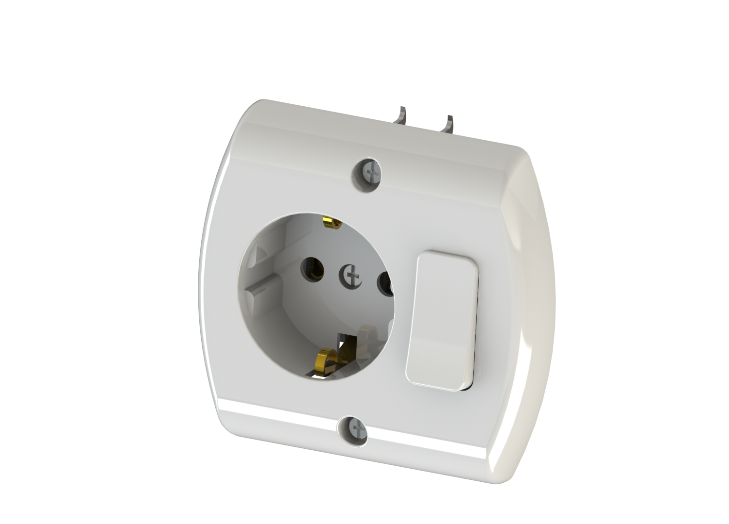Earthed Socket with Switch / 1015-A