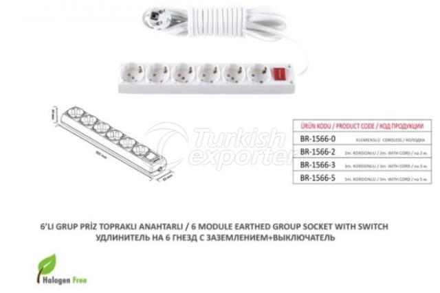6 Module Earthed Group Socket With Switch