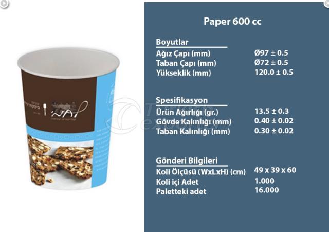 Kağıt Kap 600 cc
