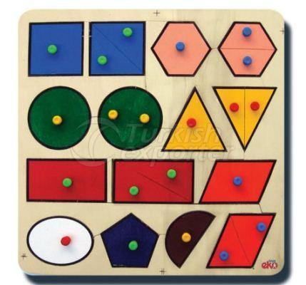 Geometrik Şekiller ve Renkler Yapboz Seti