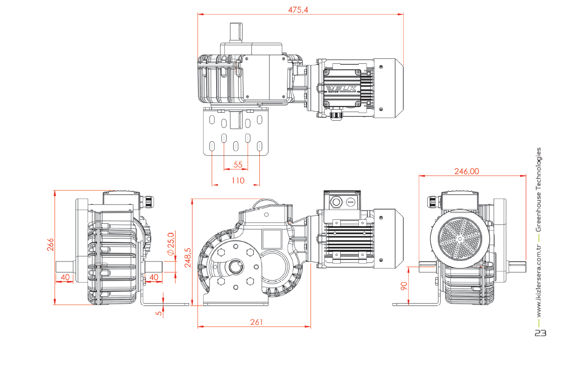 Greenhouse Motor Gearbox With limit Switch