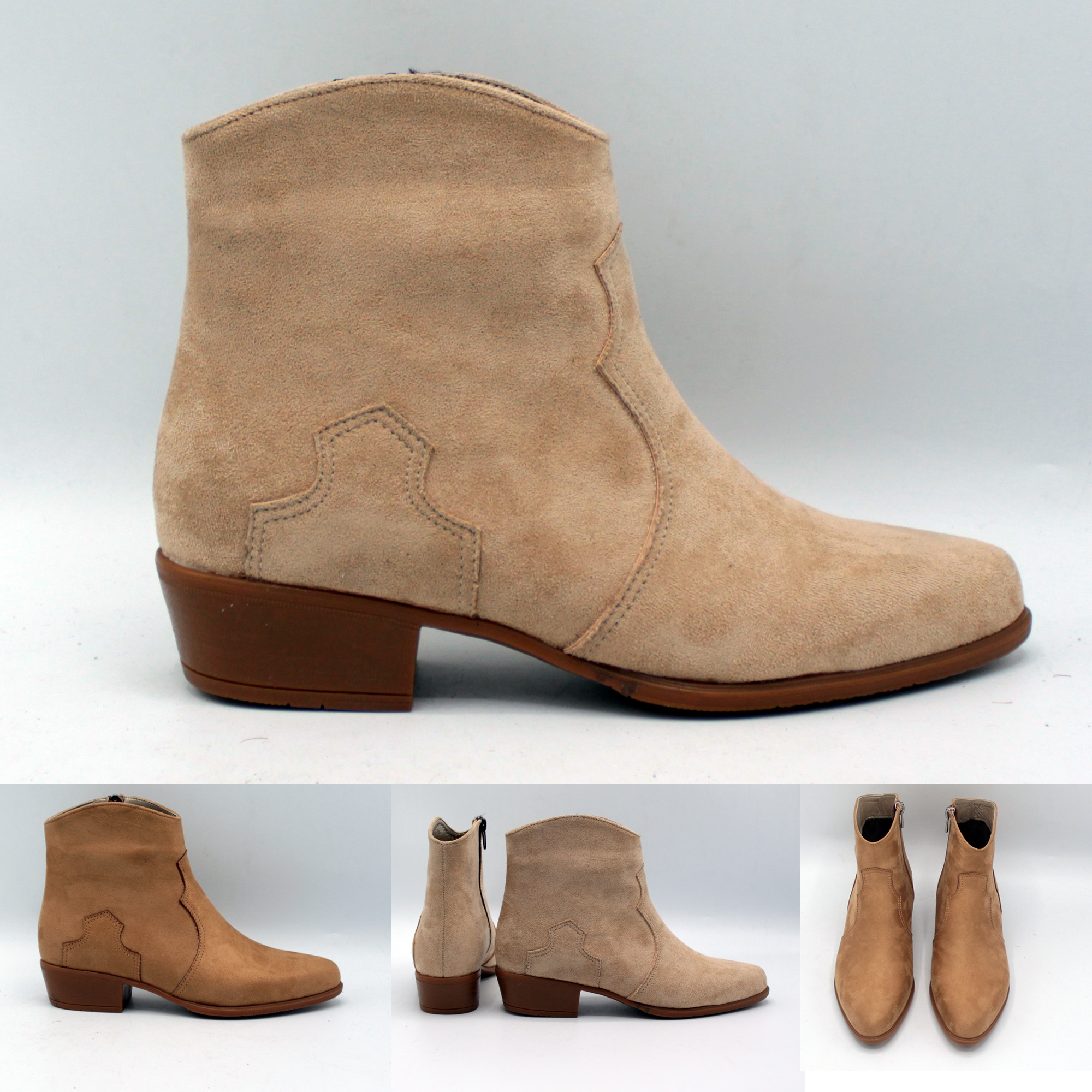 Stylish Cowboy Low Heel Women Suede Western Boots