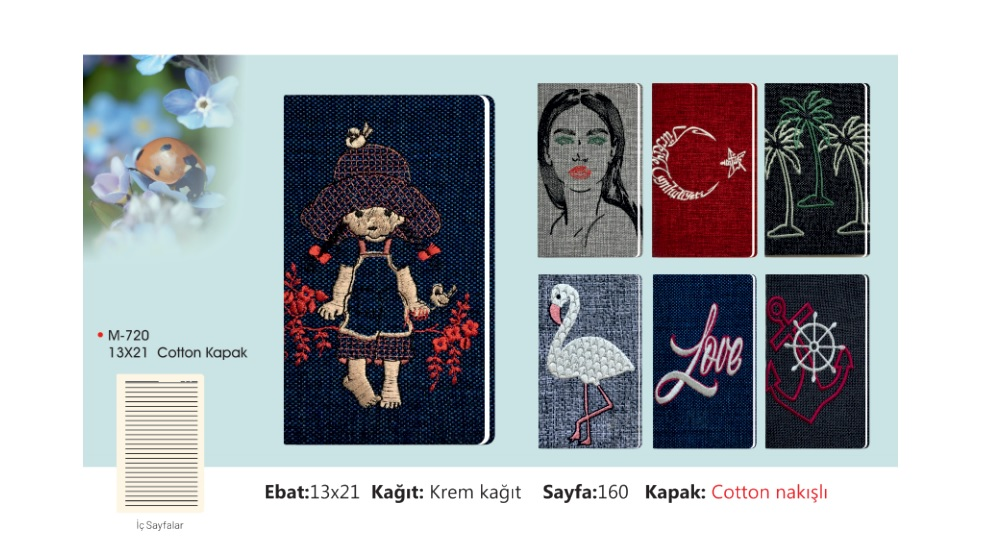M-721  Cotton Embroidered Notebook
