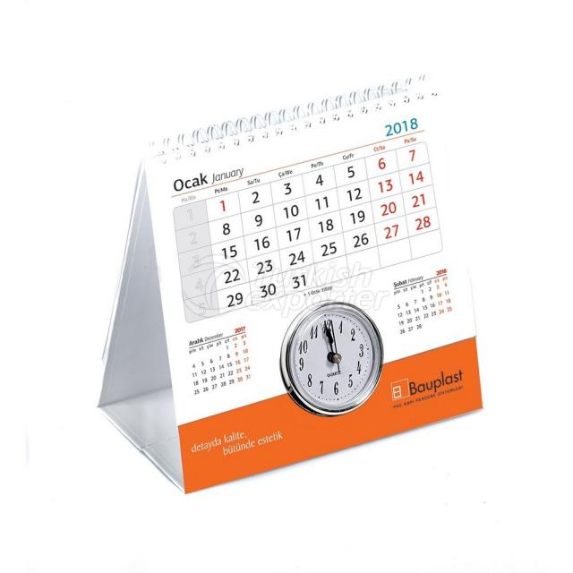 2 Year Desk Calendar With Clock (Coated Covered)