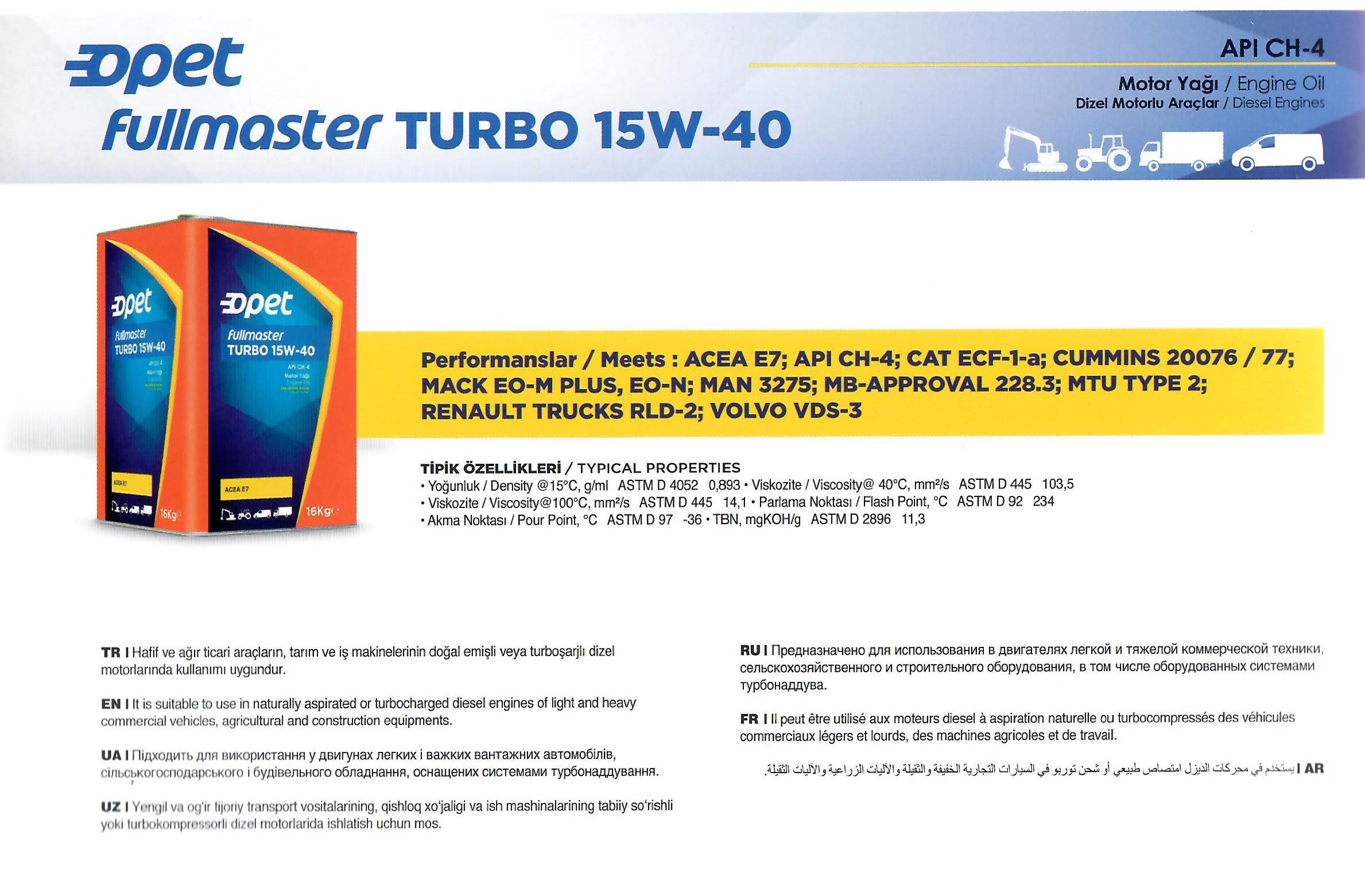 FULLMASTER TURBO 15W-40