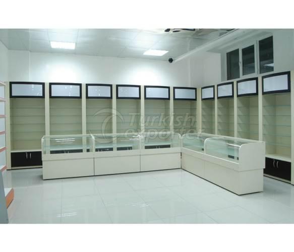Sistemas de estanterías de la tienda de perfumería