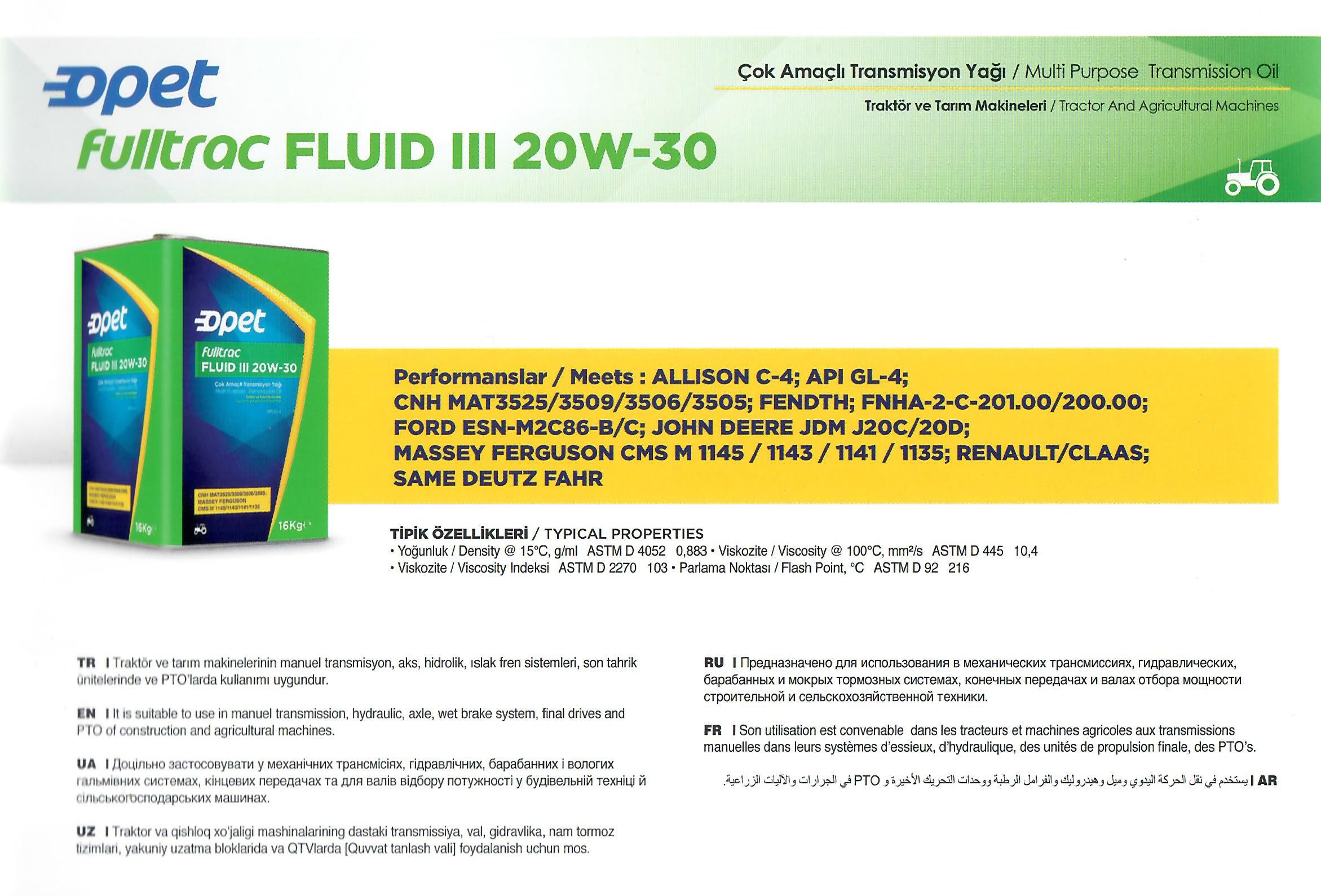 Fulltrac Fluid III 20W-30