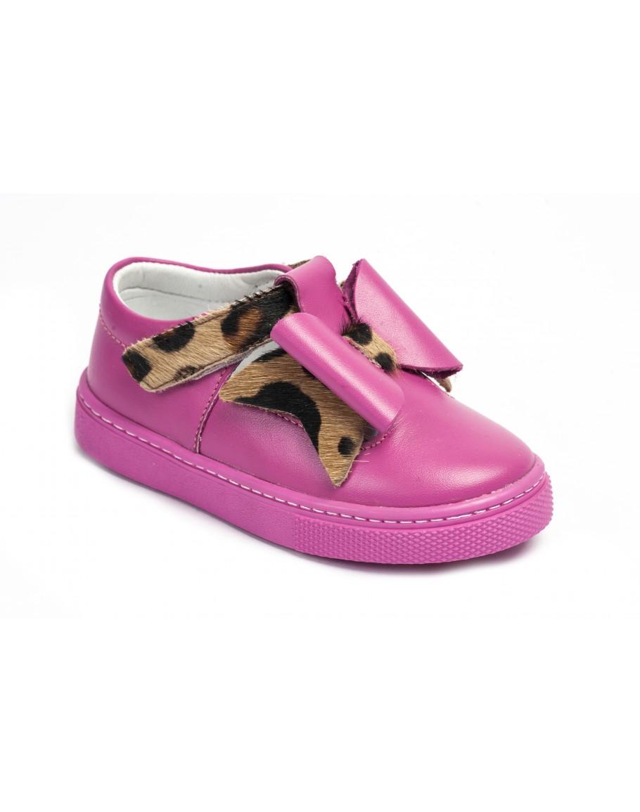 Casual Leather Shoes - Fuchsia
