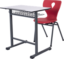 Compact Laminante and Monoblock Chair High Quality School Desk Set