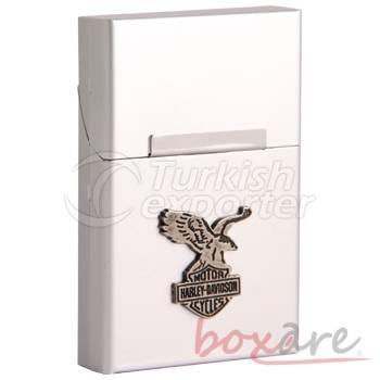 Silver Aluminum Harley Davidson Flag Cigar Box Short
