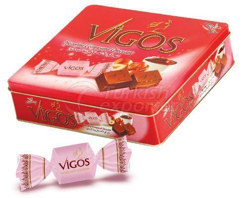 Vigos شوكولاته بالبندق في علبة معدنية مربعة