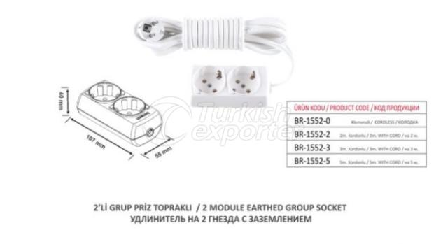 2 Module Earthed Group Socket