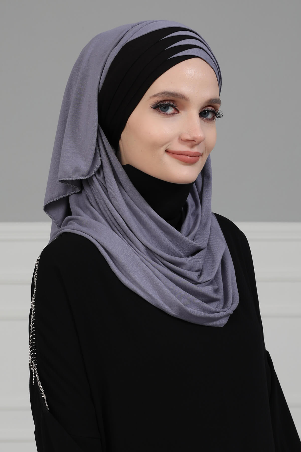 Two Colored Instant Cotton Shawl for Women Cotton Head Wrap Instant Scarf Modesty Turban Cap