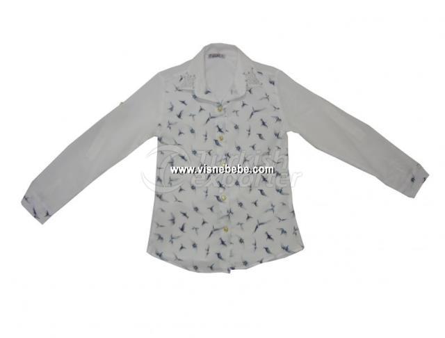 Kuşlu Krep Kız Gömlek