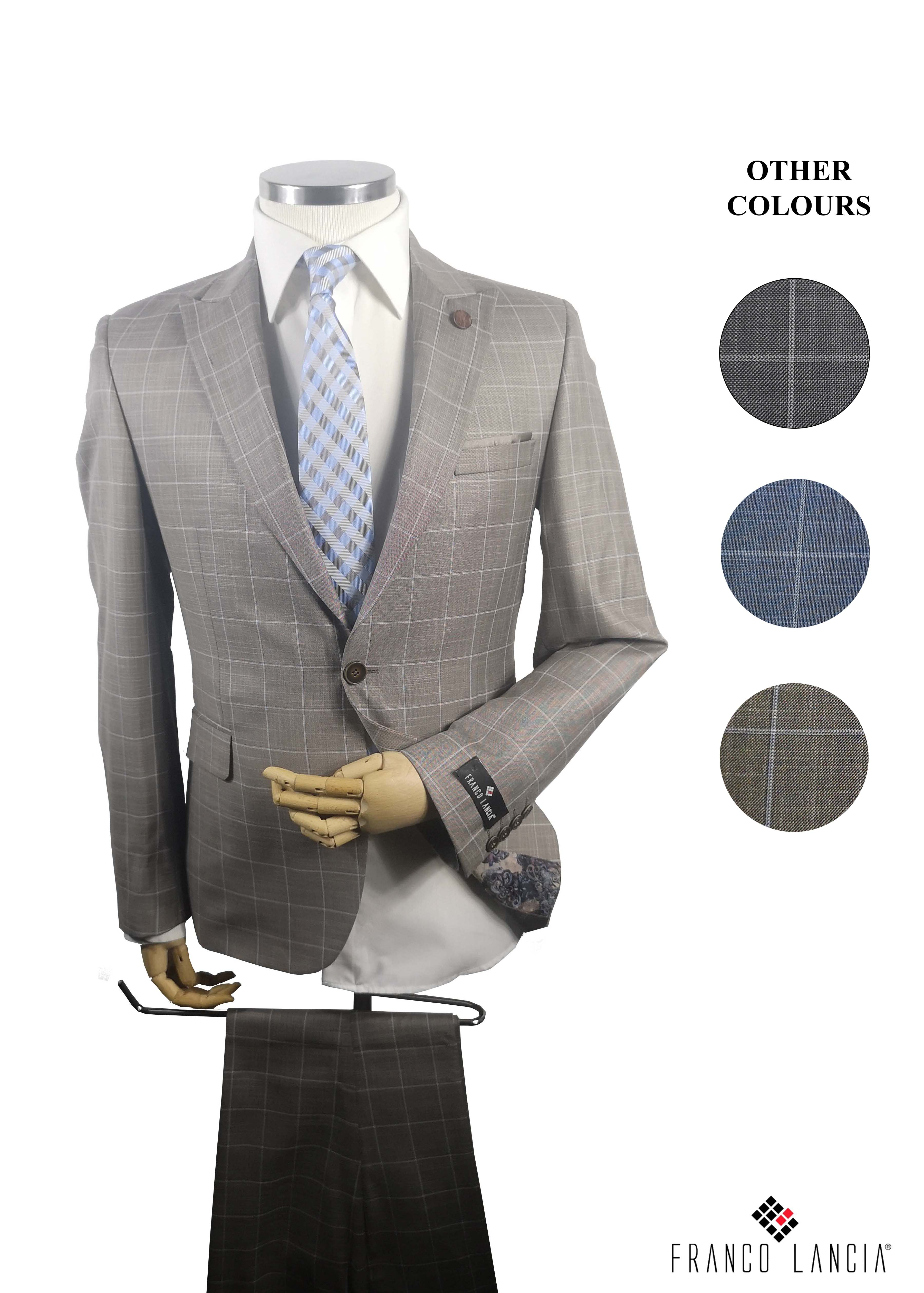2 Piece Striped Suit Model and Colors