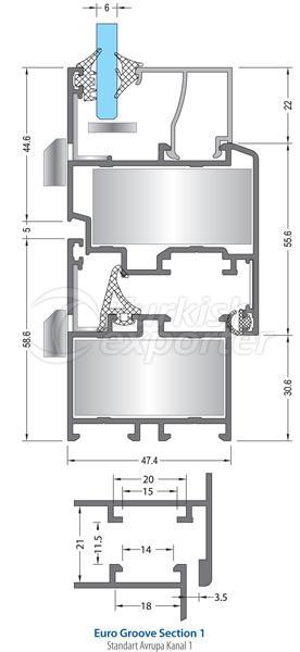 Janelas de portas de alumínio 47C