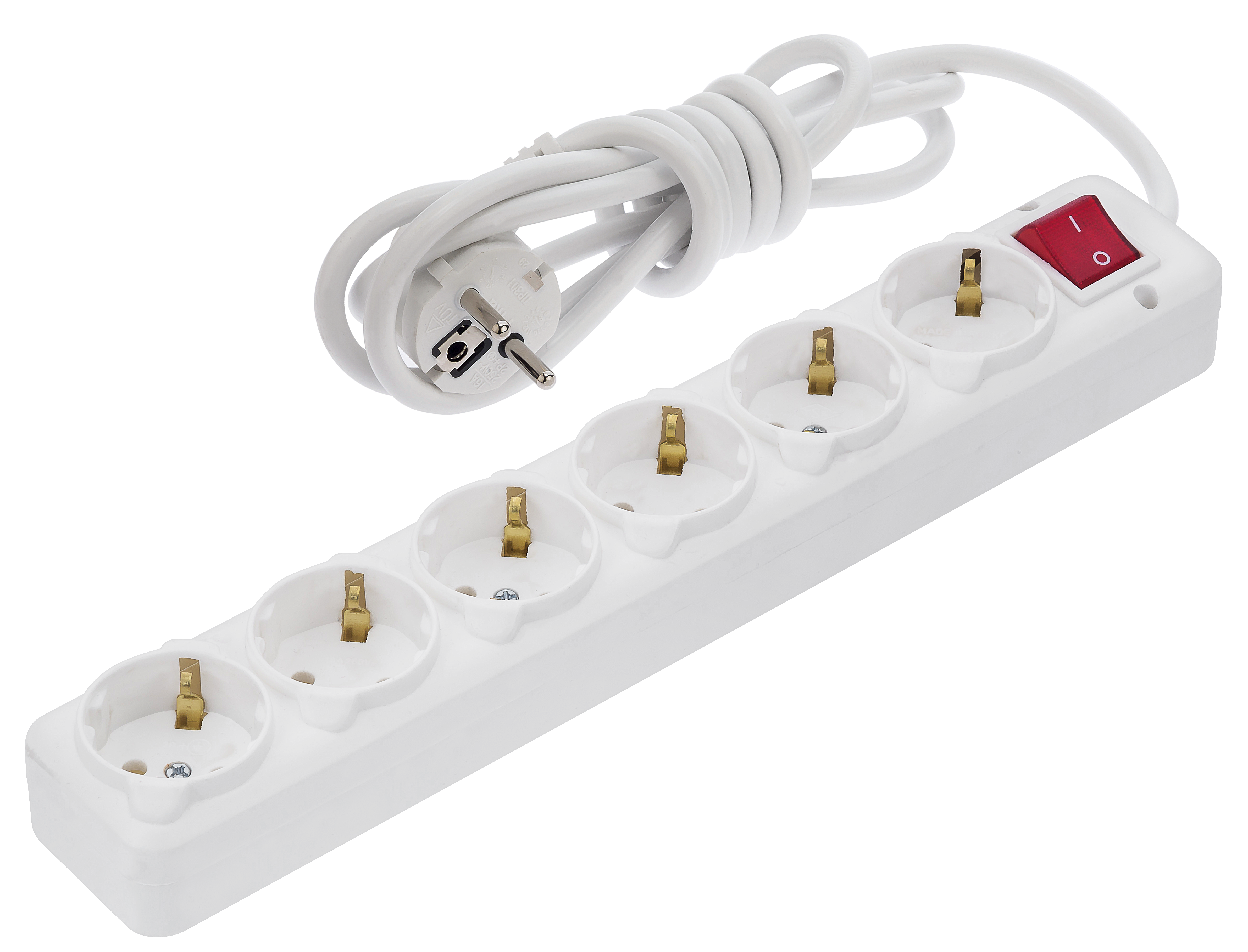 6 Gang Earthed Socket, With Switch & Cord / 3020-XA