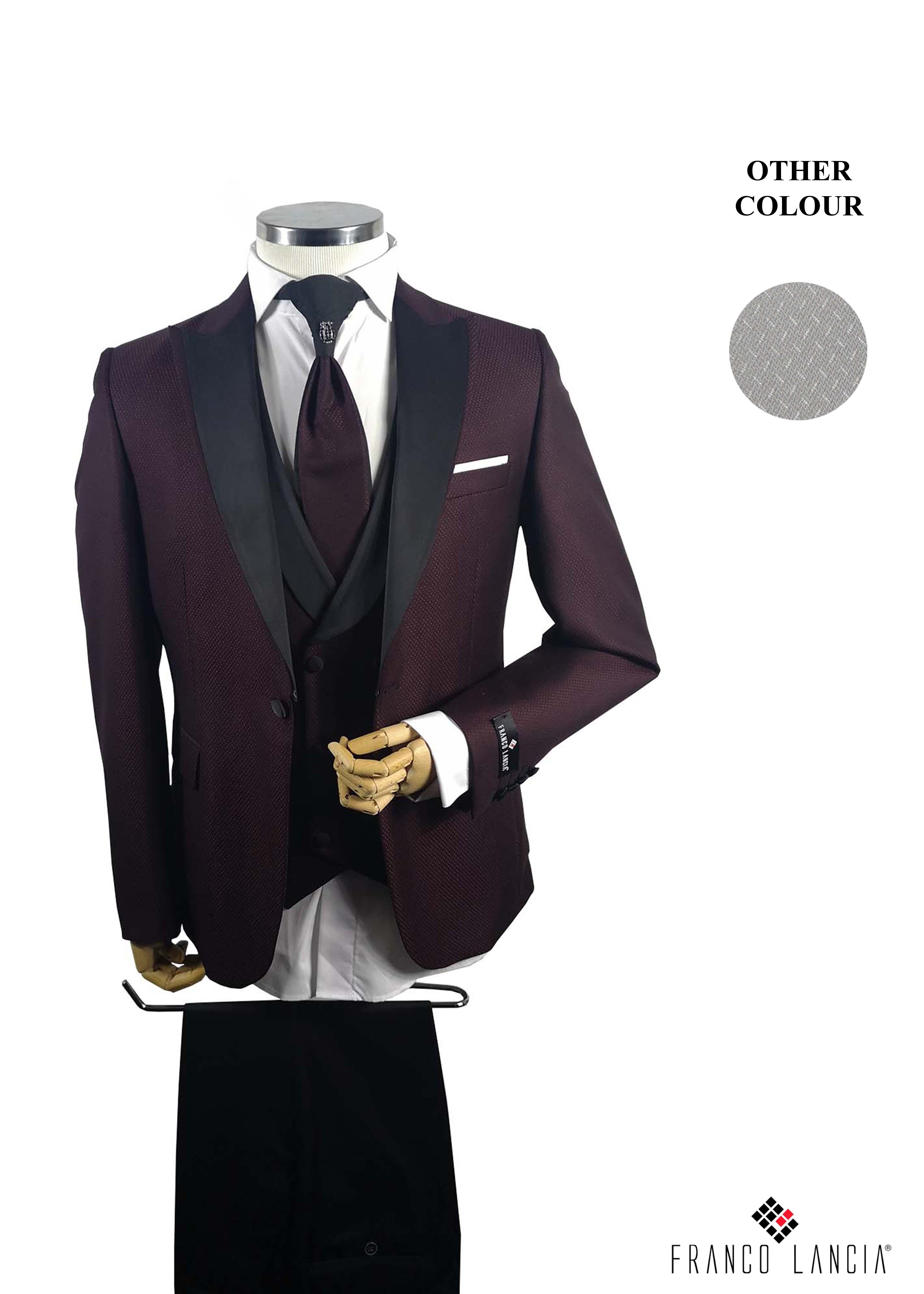 Claret Red Satin Single Breasted Lapel Tuxedo