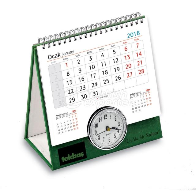 2 Year Desk Calendar With Clock (PU Leather Based)