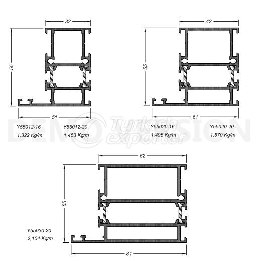 أنظمة الأبواب والنوافذY-55