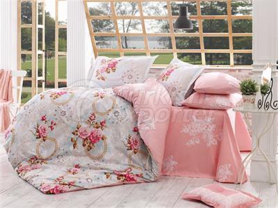 Clementina Pink - Conjunto de linho para cama de solteiro Poplin (98017404152)