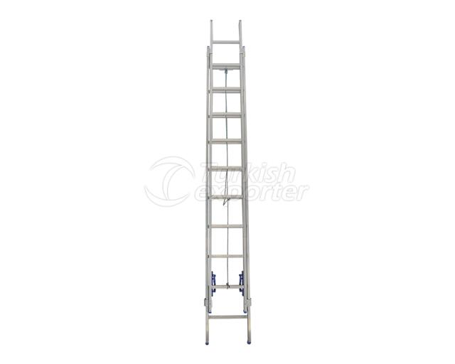 2 Section Aluminum Industrial Ladder with Rope System