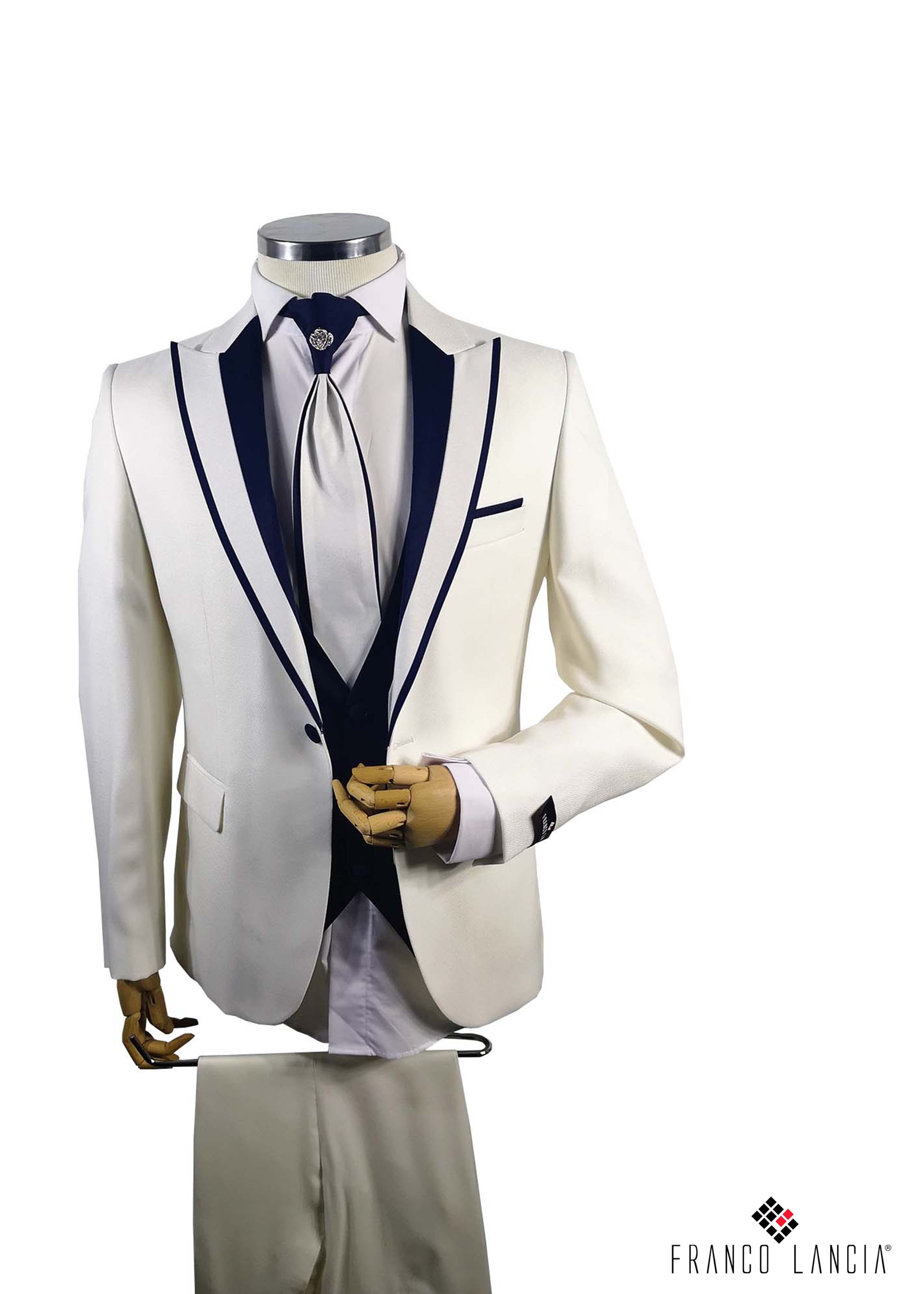 White Single Breasted Lapel Tuxedo