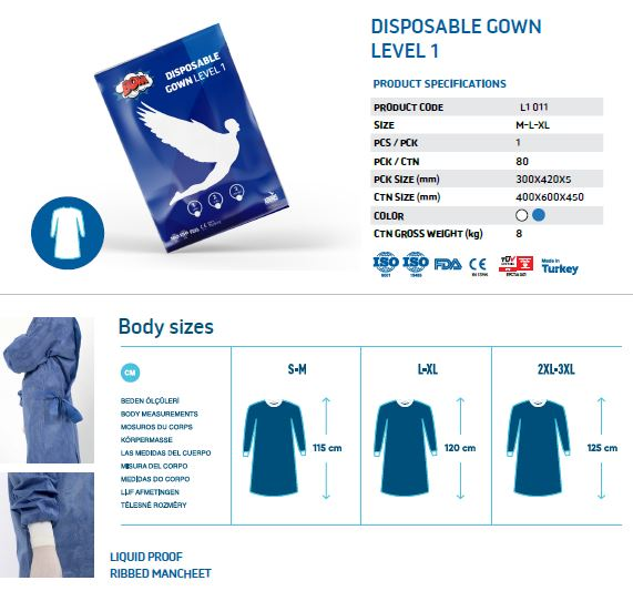 Disposable Surgical Gown - Level 1, 2, 3, and 4