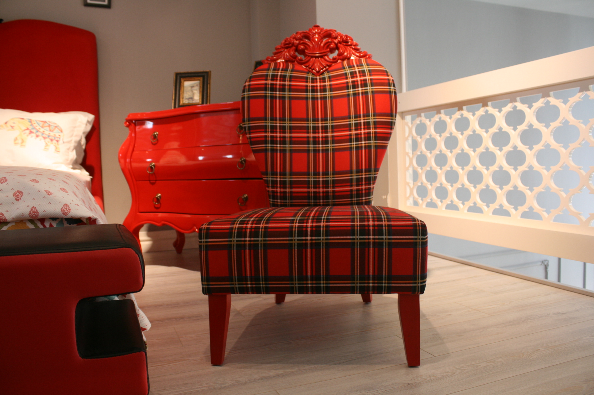Wing Chair Red Rose