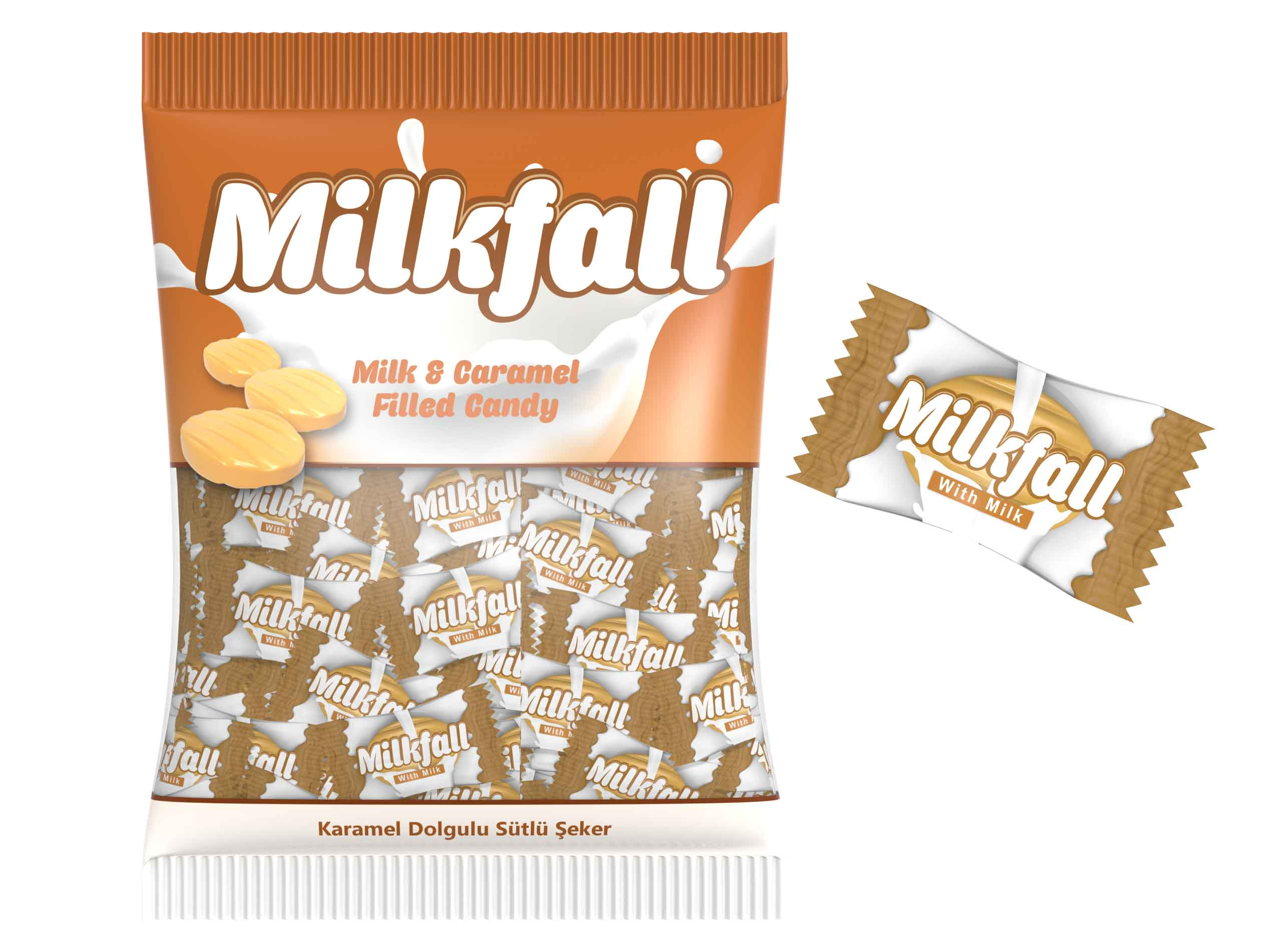 Milkfall Milk And Caramel Filled Hard Candy 1000gr
