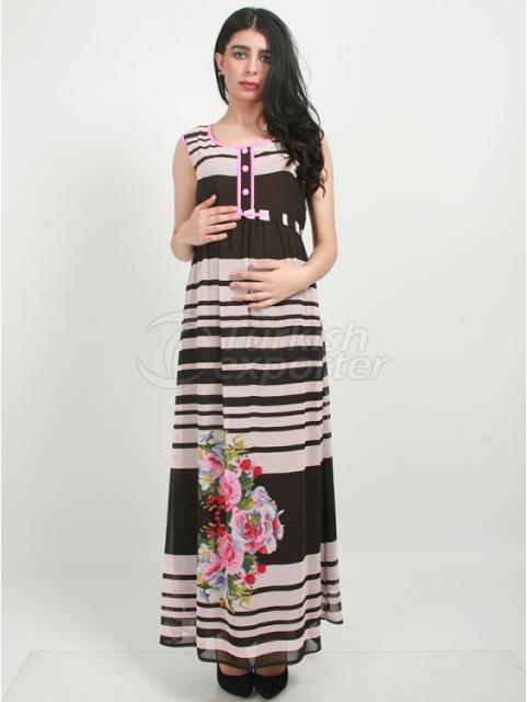 Pregnant Chiffon Dress with Floral Pattern