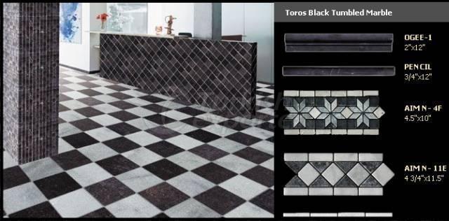 Aimtilestone Toros Black Tumbled Marble