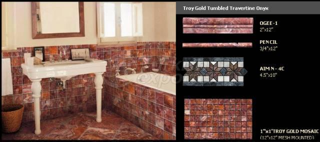 Aimtilestone Troygold Tumbled Travertine Onyx