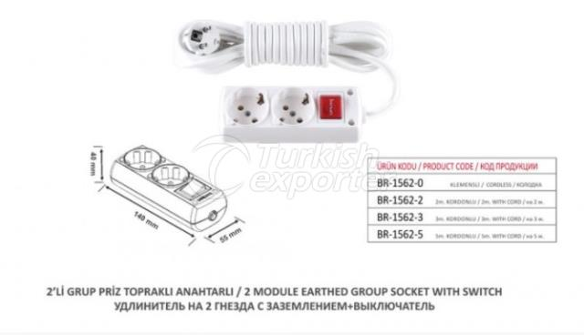 2 Module Earthed Group Socket With Switch