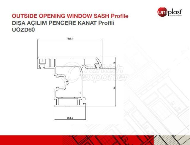 Outside Openining Window Sash Profile