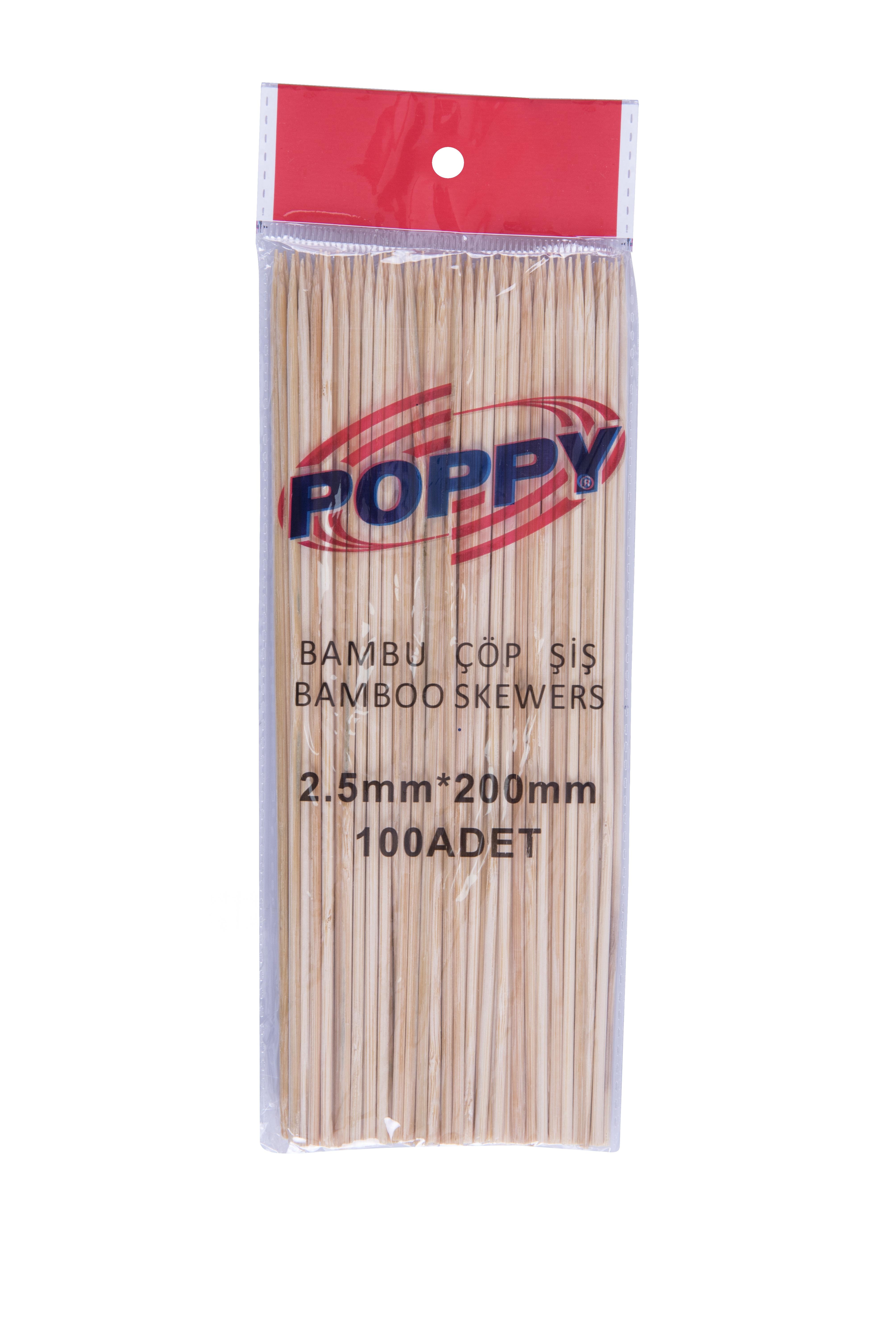 Espetos de papoula em bambu