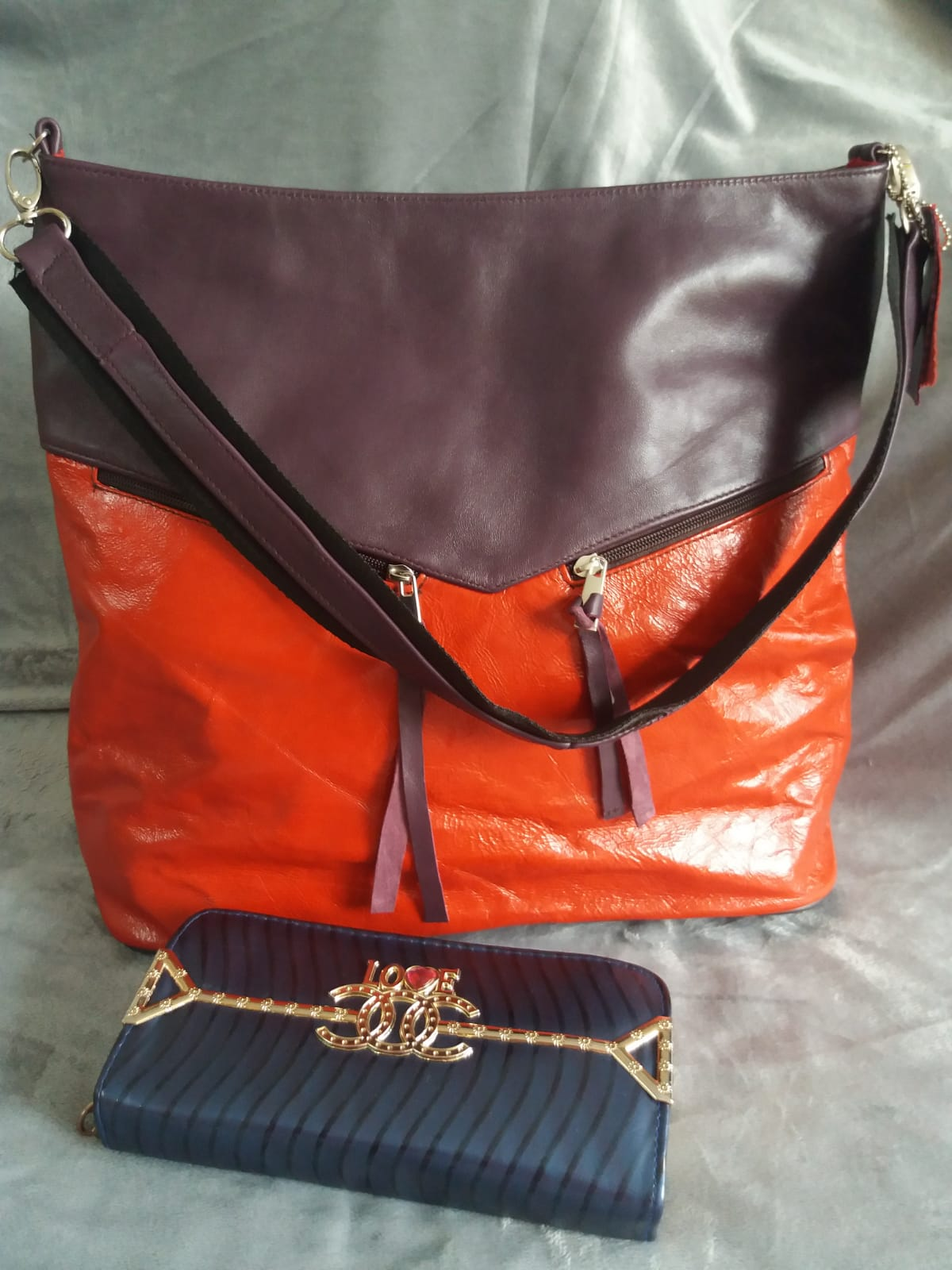 Leather hand bag for woman, 100% real leather