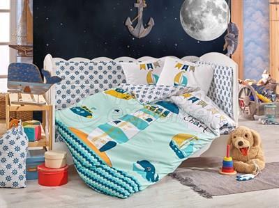 Baby Sailor Green - Baby Bed Linen Set (8698499132368)