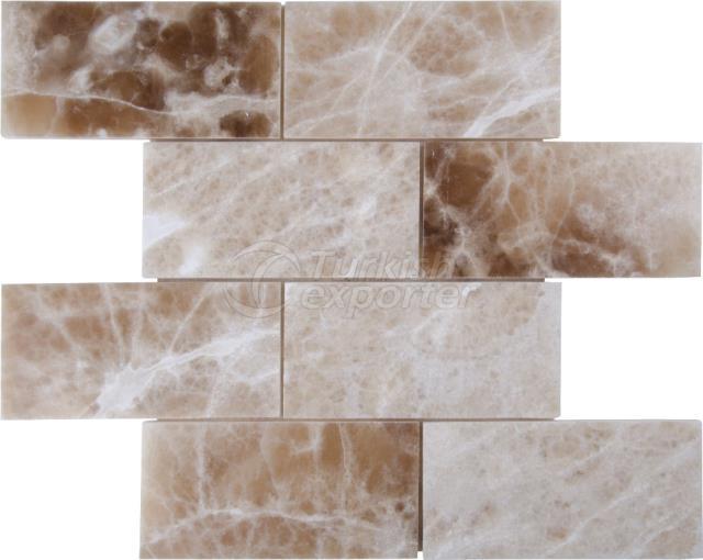 7,5x15 Cream Caramel Onyx Brick Mosaic