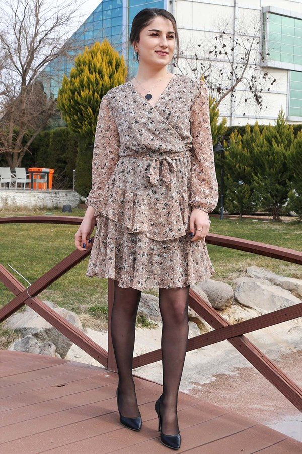 Black Floral Belted Chiffon Dress