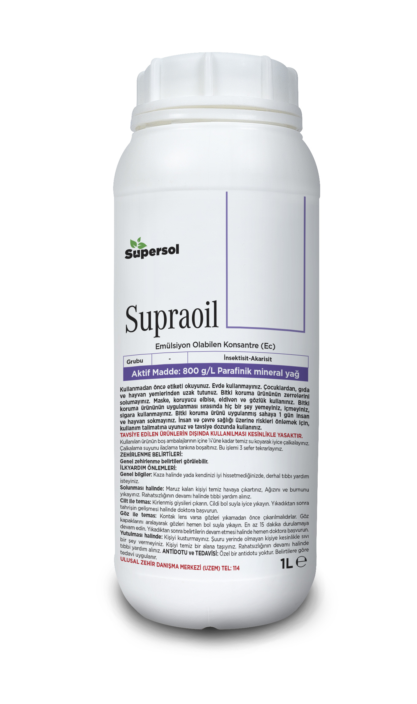 SUPRAOIL ( Plant Protection) 800 g/L Paraffinic mineral oil INSECTICIDE-ACARICIDE