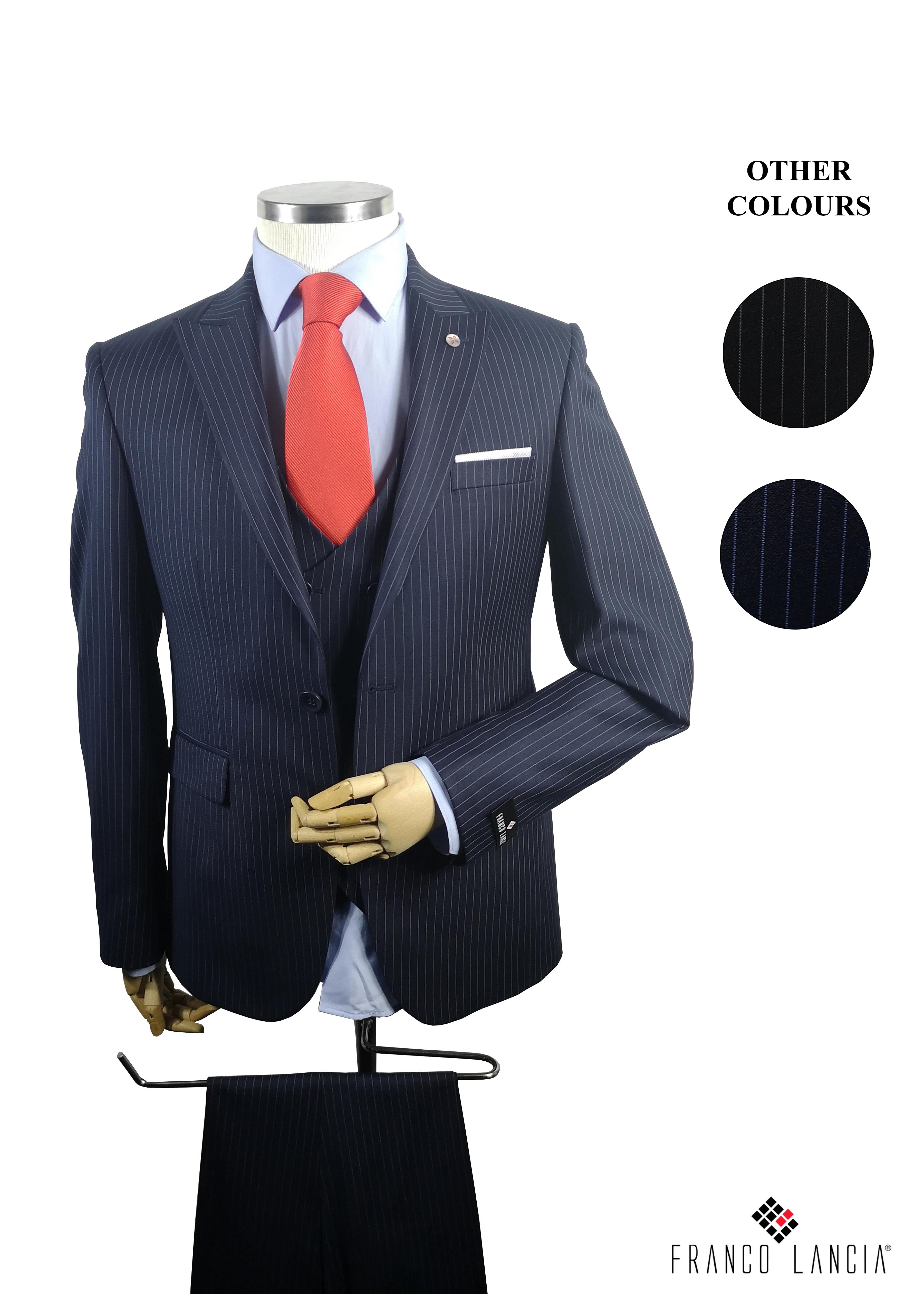 3 Piece Striped Slim Fit Suit Model and Colors