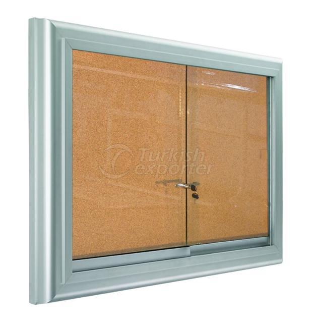 Metal Frame Glass Corkboard